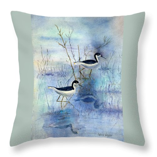 Bird Throw Pillow featuring the painting Misty Swamp by Arline Wagner