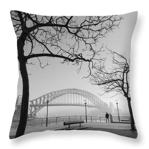 Sydney Harbour Bridge Mist Australia Throw Pillow featuring the photograph Misty Sydney morning by Sheila Smart Fine Art Photography