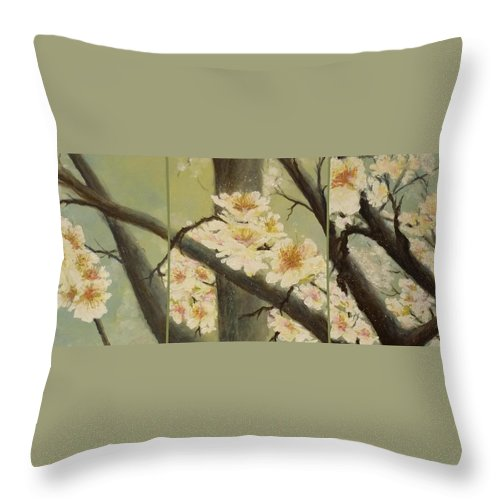Blossom Throw Pillow featuring the painting Mistymorningblossom Tryptic by Lizzy Forrester