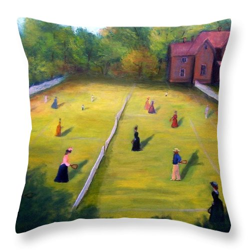 Tennis Art Throw Pillow featuring the painting Mixed Doubles by Gail Kirtz