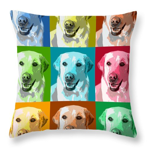 Americana Throw Pillow featuring the photograph Golden Retriever Warhol by Marilyn Hunt