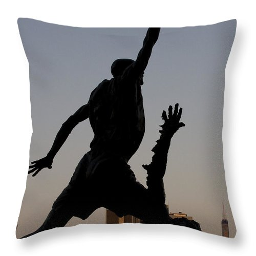 Chicago United Center Mj Micheal Jordan 23 Dark Basketball Throw Pillow featuring the photograph MJ by Andrei Shliakhau