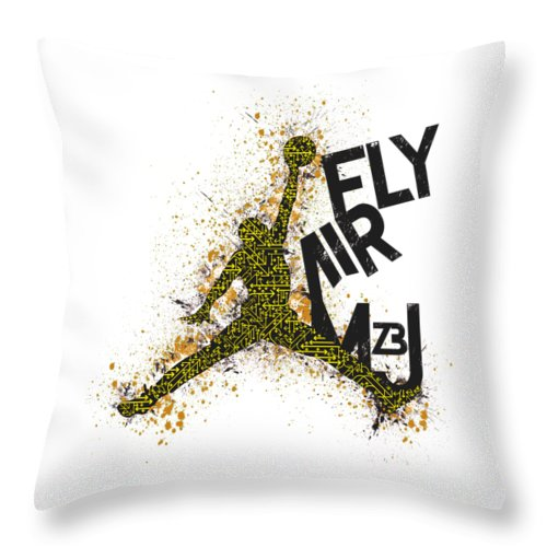 Mj Throw Pillow featuring the digital art Mj23 V.1.1 by Jose Irizarry