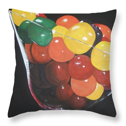 Martini Glass Throw Pillow featuring the painting Mmmm  Candies by Betty-Anne McDonald