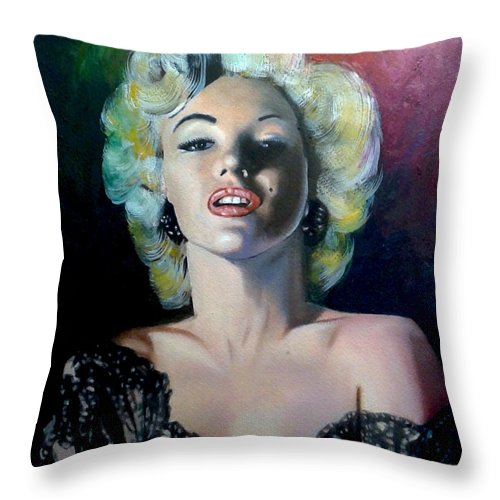 M Monroe Throw Pillow featuring the painting M.Monroe 3 by Jose Manuel Abraham
