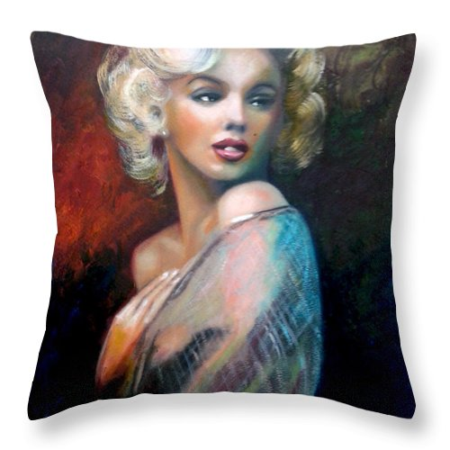 Monroe. Women. Throw Pillow featuring the painting M.Monroe by Jose Manuel Abraham