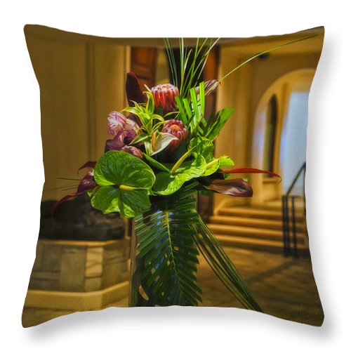 Hawaii Throw Pillow featuring the photograph Moana Surfrider Tropical Elegance by Linda Tiepelman