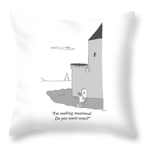 """""""i'm Making Moatmeal. Do You Want Some?"""" Throw Pillow featuring the digital art Moatmeal by Liana Finck"""
