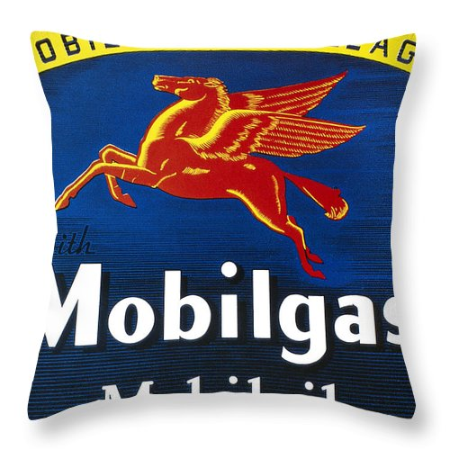1935 Throw Pillow featuring the photograph Mobil Advertisement, 1935 by Granger