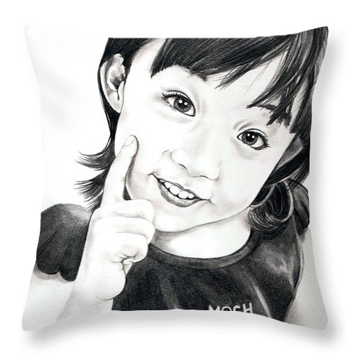 Pencil Throw Pillow featuring the drawing Moch by Murphy Elliott