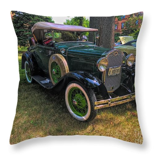 Model A Ford Throw Pillow featuring the photograph 1928 Model A Ford by Luther Fine Art