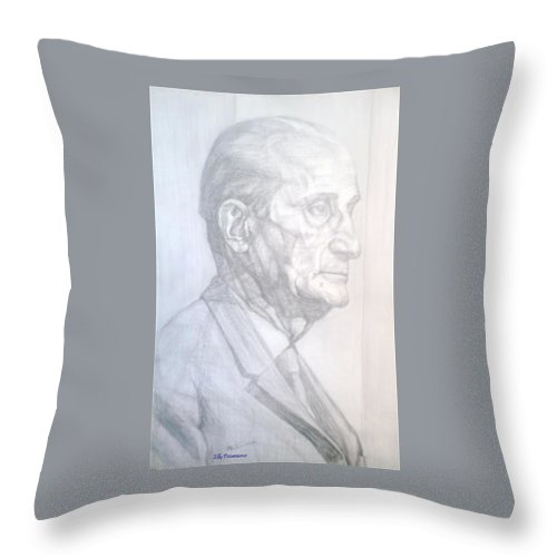 Distinguished Gentleman Throw Pillow featuring the drawing Model by Elly Potamianos