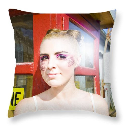 Attractive Throw Pillow featuring the photograph Model In Lace Makeup by Jorgo Photography - Wall Art Gallery
