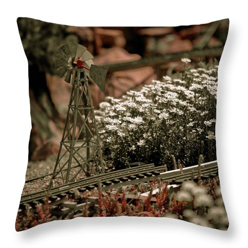 Train Throw Pillow featuring the photograph Model Railroad Windmill by Marilyn Hunt