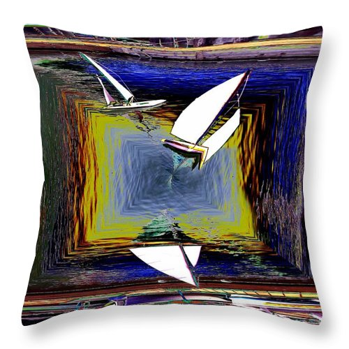 Sail Throw Pillow featuring the digital art Model Sailboats by Tim Allen