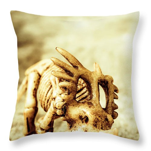 Exhibition Throw Pillow featuring the photograph Model Styracosaurus Skeleton by Jorgo Photography - Wall Art Gallery