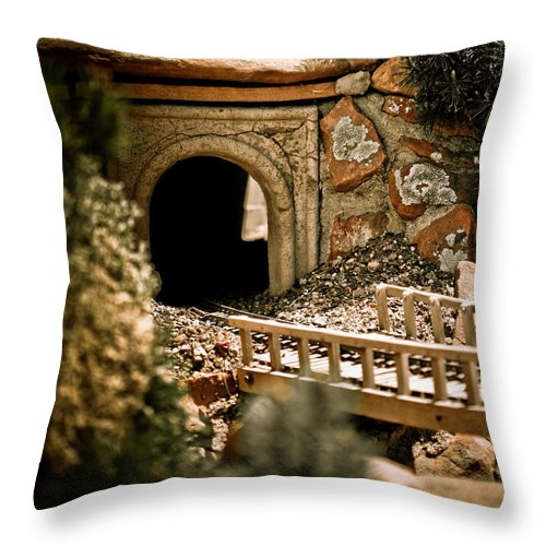 Train Throw Pillow featuring the photograph Model Train Tunnel 2 by Marilyn Hunt
