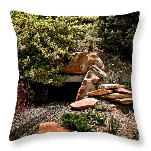 Train Throw Pillow featuring the photograph Model Train Tunnel by Marilyn Hunt