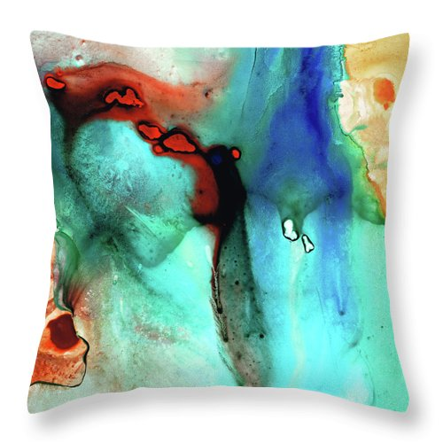 Primary Colors Throw Pillow featuring the painting Modern Abstract Art - Color Rhapsody - Sharon Cummings by Sharon Cummings