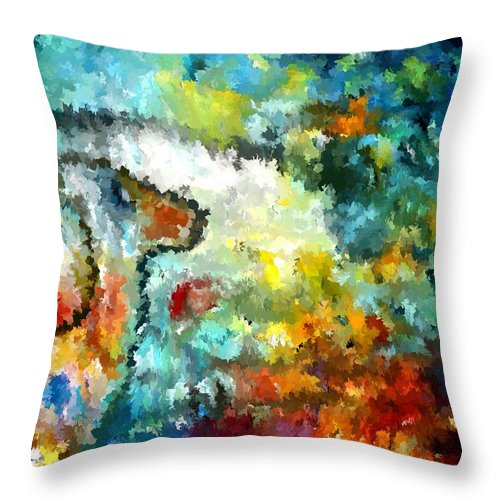 Dog Throw Pillow featuring the painting Modern Composition 04 by Rafi Talby