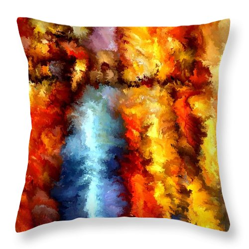 Contemporary Throw Pillow featuring the painting Modern Composition 05 by Rafi Talby