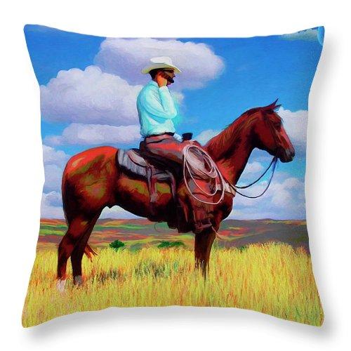 Cowboy Throw Pillow featuring the digital art Modern Cowboy by Snake Jagger