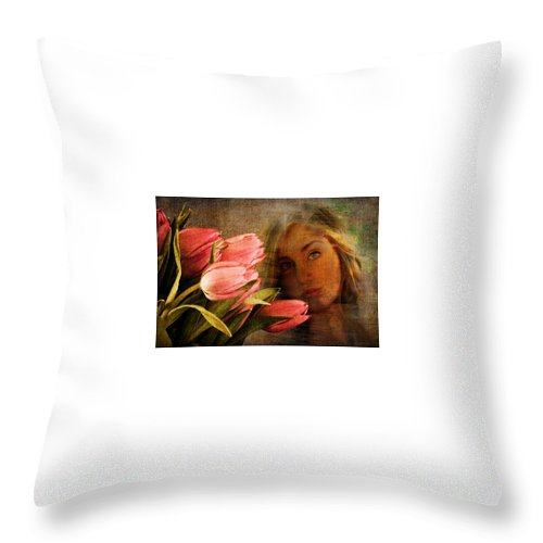 Flowers Throw Pillow featuring the photograph Modern Mona Lisa by Gene Komaromi