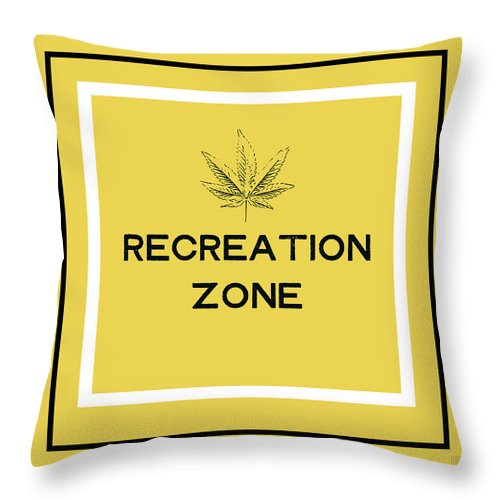 Cannabis Throw Pillow featuring the mixed media Modern Recreation Zone Sign- Art By Linda Woods by Linda Woods