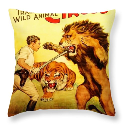 Circus Poster Tee Throw Pillow featuring the digital art Modern Vintage Circus Poster by ReInVintaged