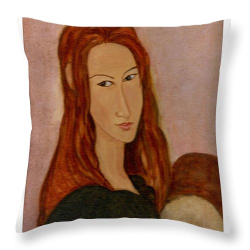 Modgiliani's Painting Throw Pillow featuring the painting Modgiliani by Asha Sudhaker Shenoy