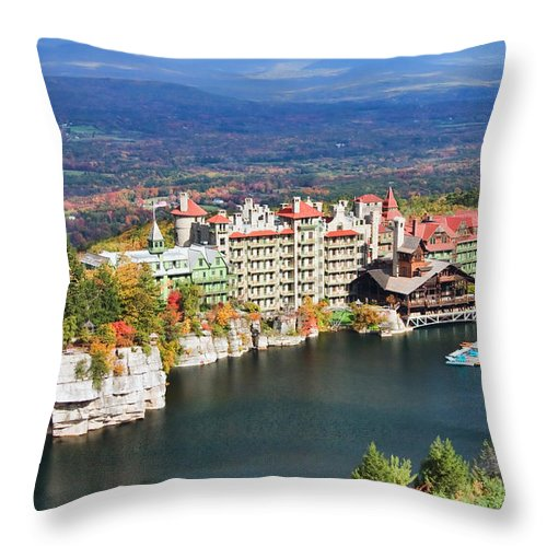 Mohonk Mountain House Throw Pillow featuring the photograph Mohonk Mountain House by June Marie Sobrito