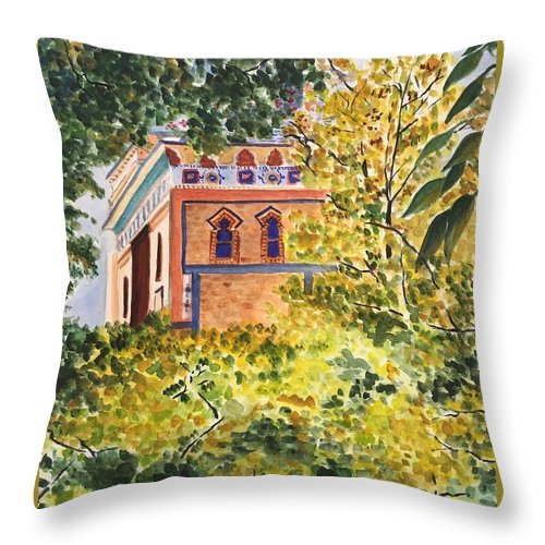 Landscape Throw Pillow featuring the painting Mohonk Preserve 2 by Judy Swerlick