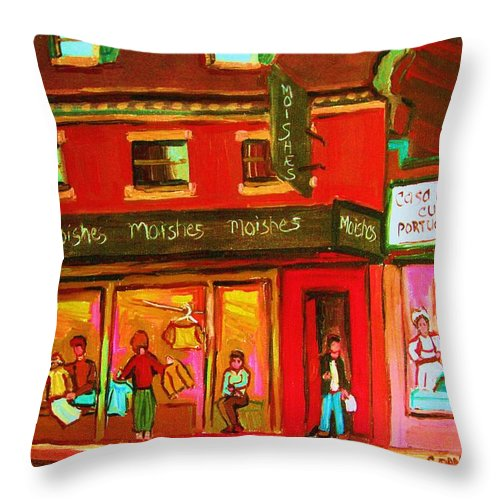 Moishes Throw Pillow featuring the painting Moishes Steakhouse On The Main by Carole Spandau
