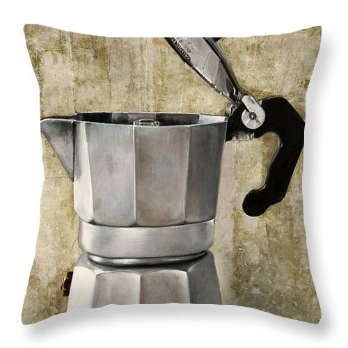 Cofeescape Throw Pillow featuring the painting Moka by Guido Borelli