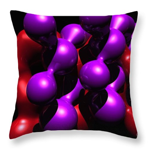 Abstract Throw Pillow featuring the digital art Molecular Abstract by David Lane