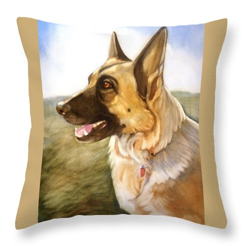 German Shepherd Throw Pillow featuring the painting Mollie by Marilyn Jacobson