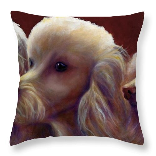 Dogs Throw Pillow featuring the painting Molly Charlie And Abby by Shannon Grissom