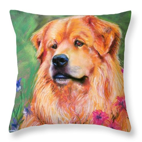 Chow Throw Pillow featuring the painting Molly by Frances Marino