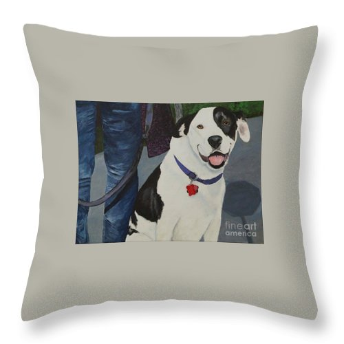 Bull Dog Throw Pillow featuring the painting Molly by Frankie Picasso