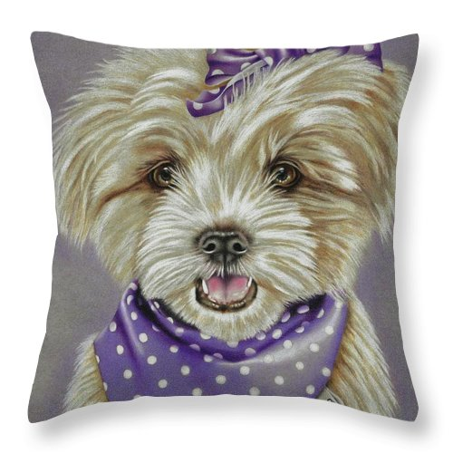 Dog Throw Pillow featuring the drawing Molly The Maltese by Karrie J Butler