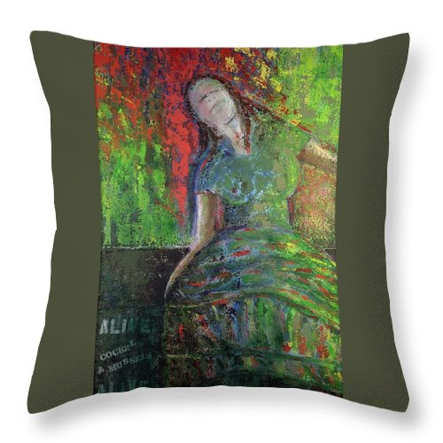 Painting Throw Pillow featuring the painting Molly Malone by Richard W Dillon