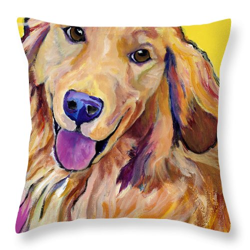 Acrylic Paintings Throw Pillow featuring the painting Molly by Pat Saunders-White