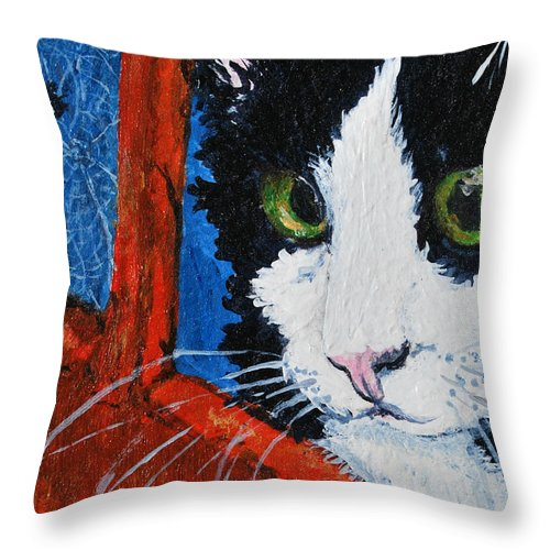 Cat Throw Pillow featuring the painting Molly by Reina Resto