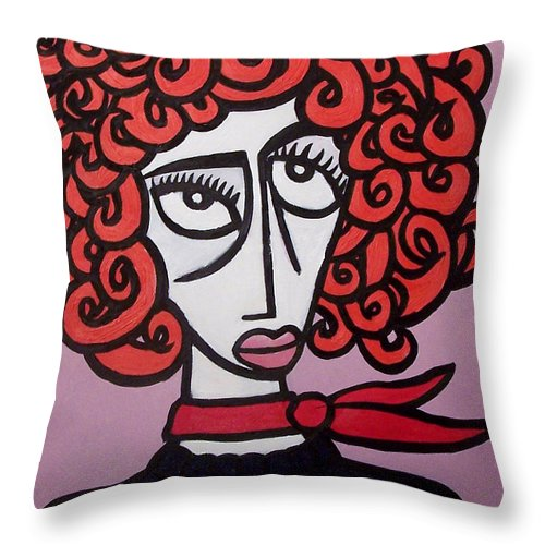 Portaits Throw Pillow featuring the painting Molly by Thomas Valentine