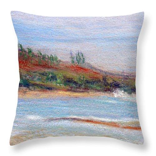 Coastal Decor Throw Pillow featuring the painting Moloa'a Beach by Kenneth Grzesik
