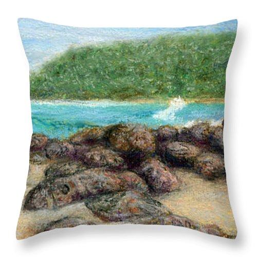 Coastal Decor Throw Pillow featuring the painting Moloa'a Rocks by Kenneth Grzesik