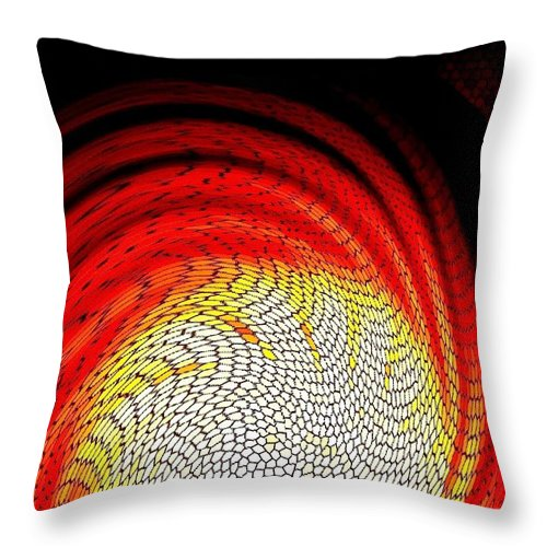 Abstract Throw Pillow featuring the digital art Molten Honeycomb by Will Borden