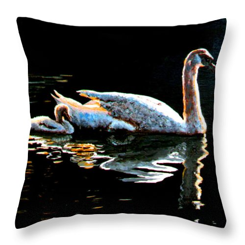 Swan Throw Pillow featuring the painting Mom And Baby Swan by Stan Hamilton