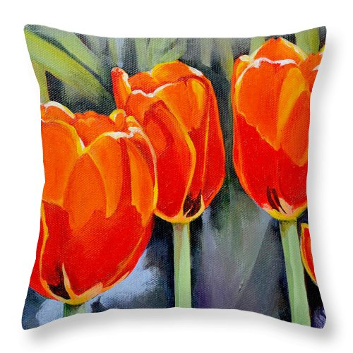 Tulip Throw Pillow featuring the painting Moment in the Sun 3 by Mary Chant