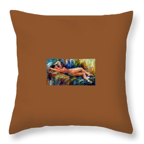 Nude Throw Pillow featuring the painting Moment Of Pleasure by Leonid Afremov